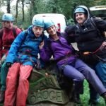 Bracken Court residents wearing safety gear and helmets ready for their challenges