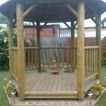The finished wooden gazebo in the garden at Lucas Court homelessness scheme