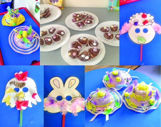 Decorated Easter hats, cakes, and masks at young families homelessness service