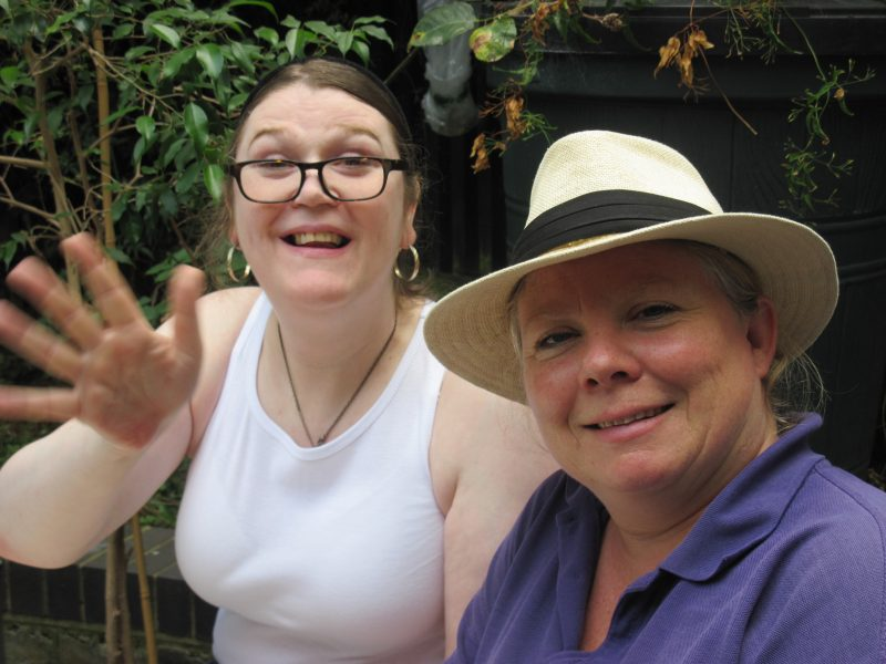 Michelle, hostel resident, and Lu from Thrive, at the launch of Queen Mary hostel's garden project