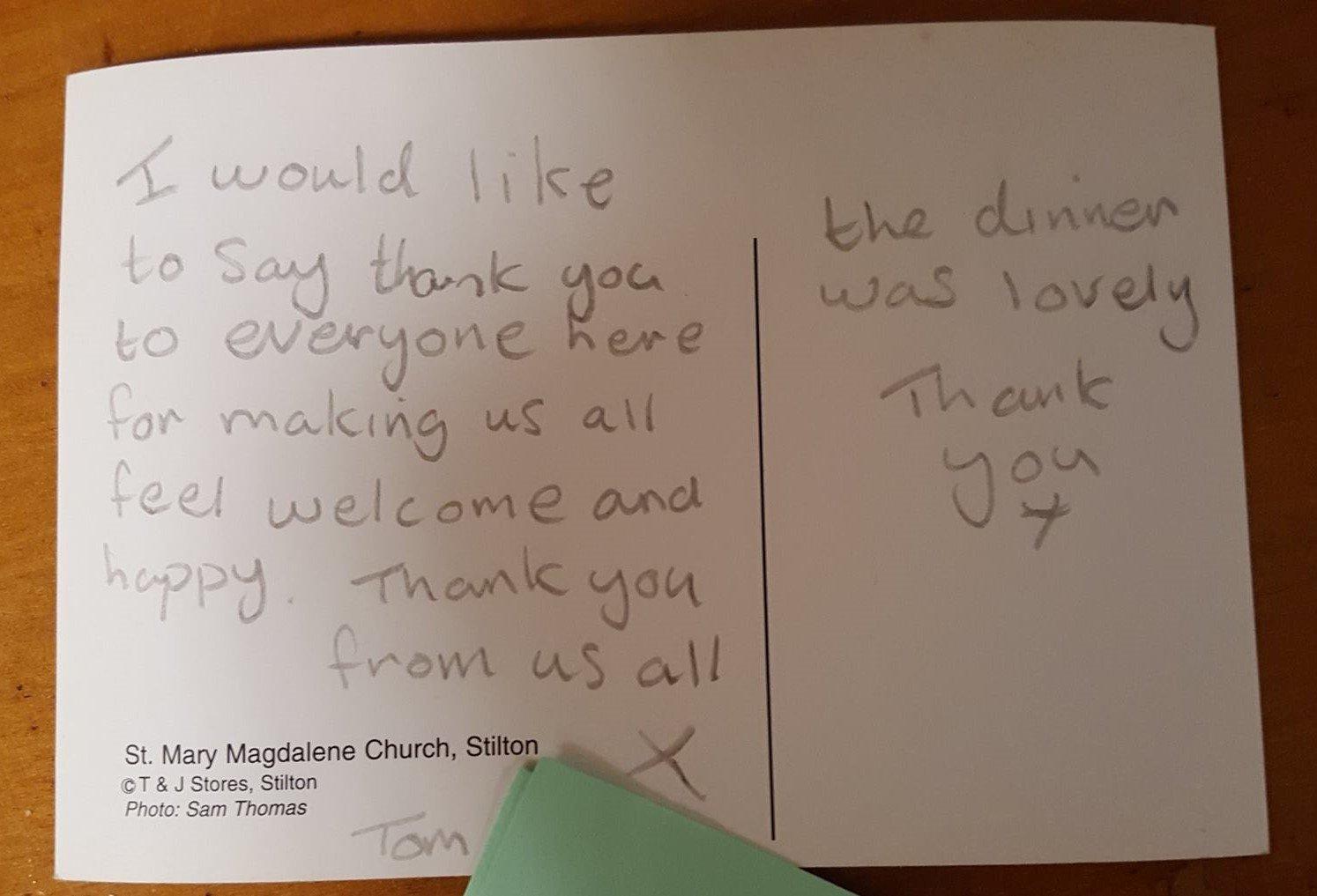 Postcard saying Thank you