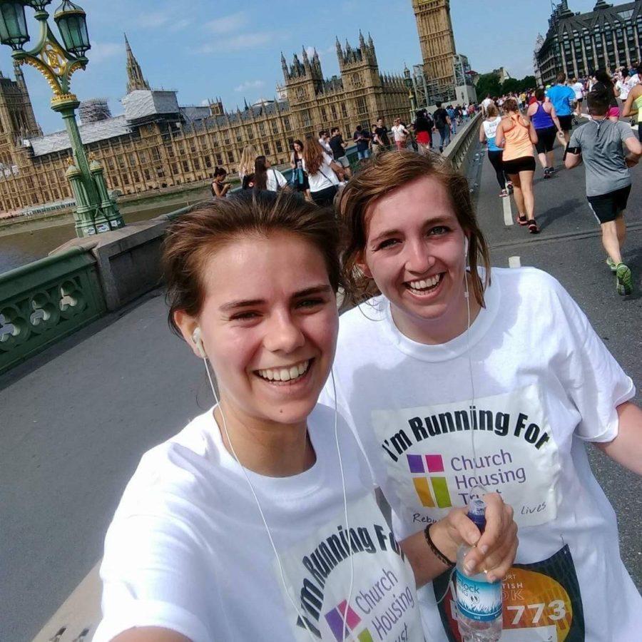 2017 British 10k runners on Waterloo Bridge, two women smiling