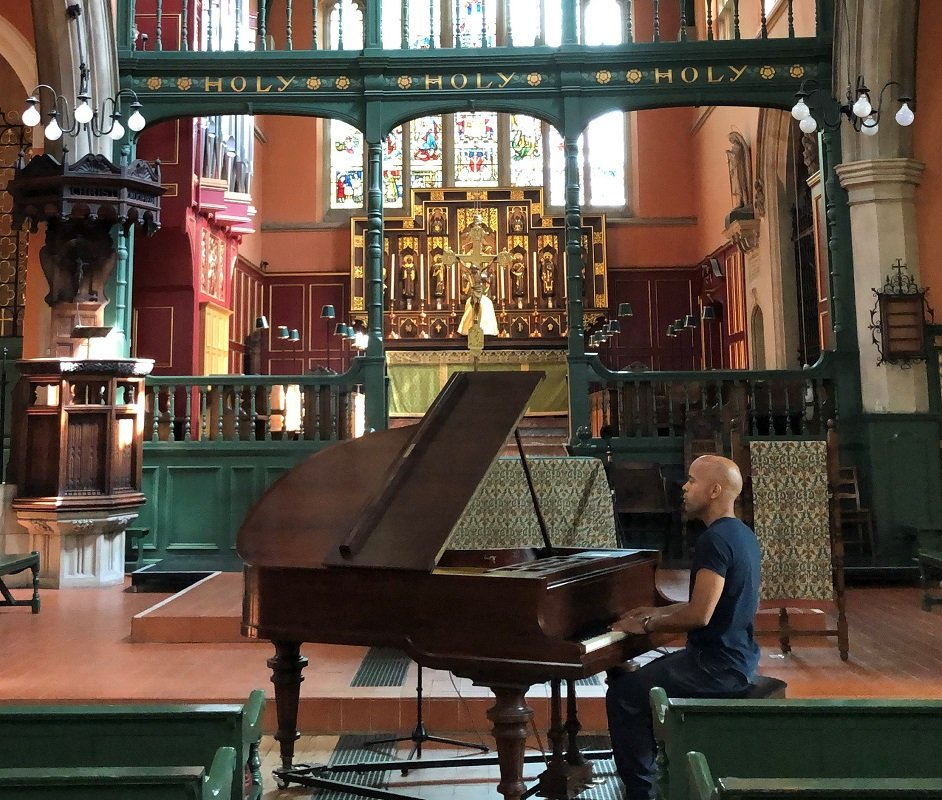 Vince Pope recording in St Michael and All Angels church